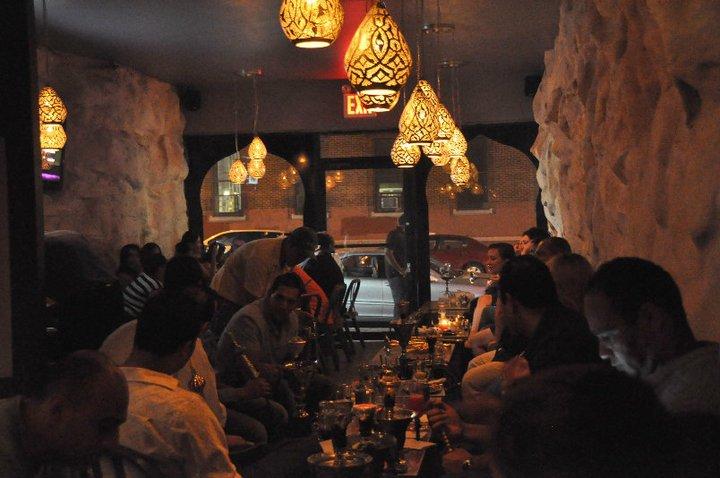 Lamoza hookah bar has an oriental interior