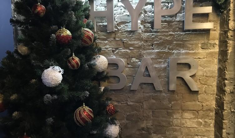 Новогоднее оформление кальянной Hype Bar Киев