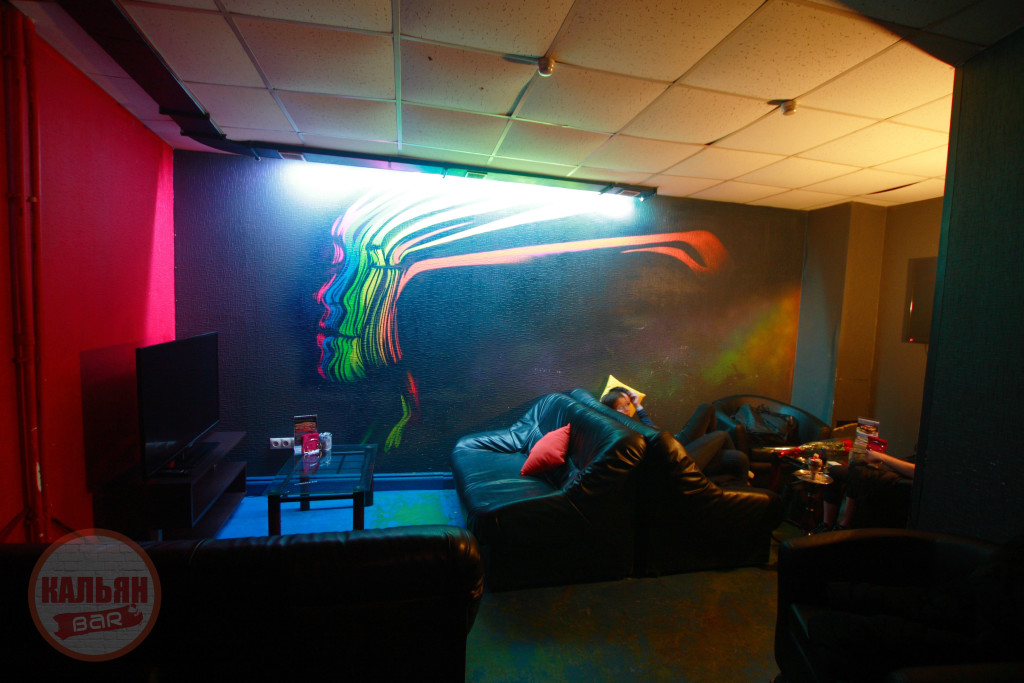 Интерьер вип-зала в кальянной F-Lounge на Бауманской